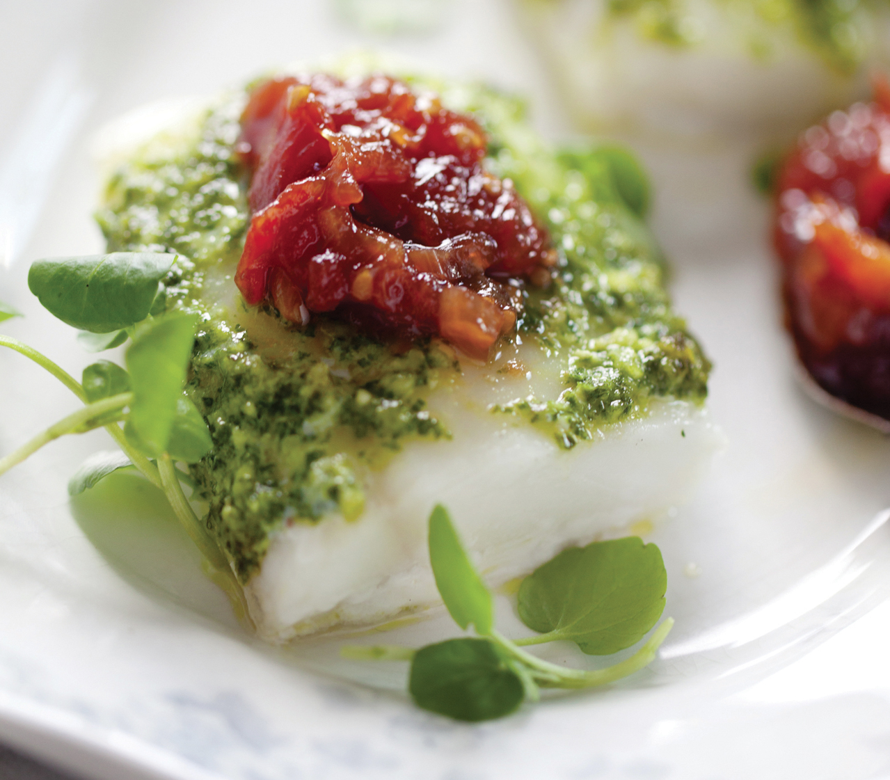 Roasted Cod with Kale Pesto and Tomato Jam